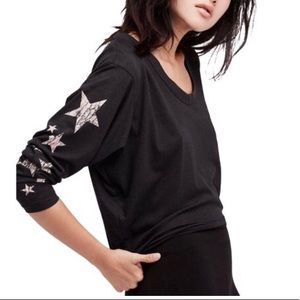 NWT Free People Melrose Star Graphic Print Top
